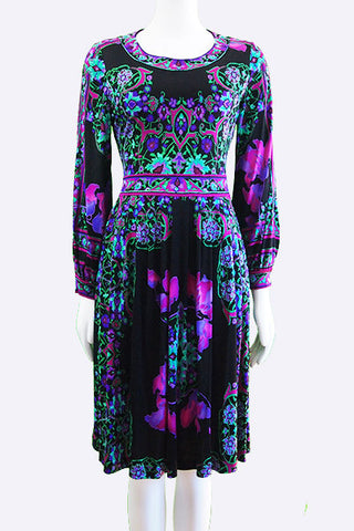 1960s Leonard Paris Orchid Print Silk Jersey Dress
