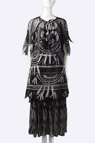 "1970s Zandra Rhodes ""Indian Feather"" Handprinted Silk Ensemble"