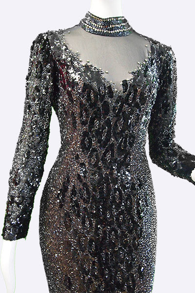 1980s Bob Mackie Couture Beaded Evening Dress