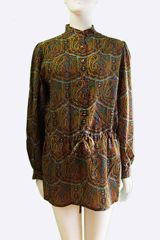 1970s Yves Saint Laurent Paisley Peasant Blouse