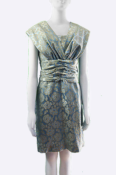 1960s Julian Rose Silk Brocade Cocktail Dress