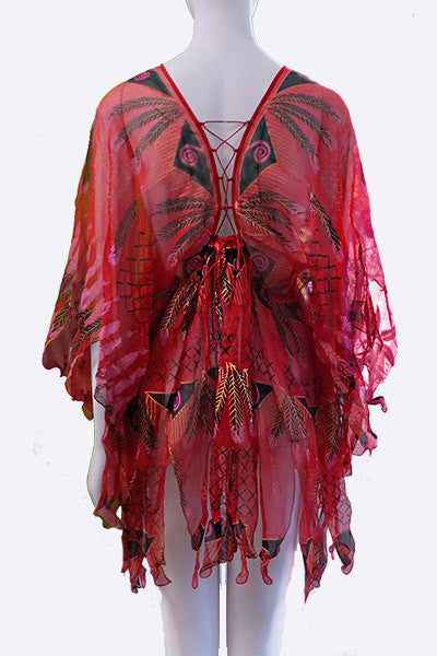 "1970s Zandra Rhodes ""Indian Feather"" Hand Printed Tunic Top"