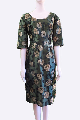 1950s I. Magnin Flocked Satin Floral Dress