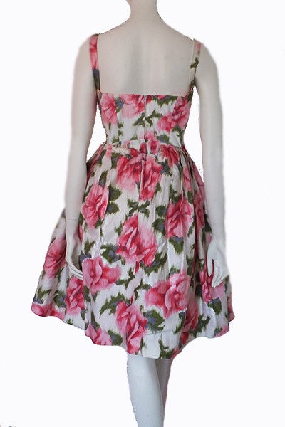 "1950s Patricia of Paris ""New Look"" Floral Dress"
