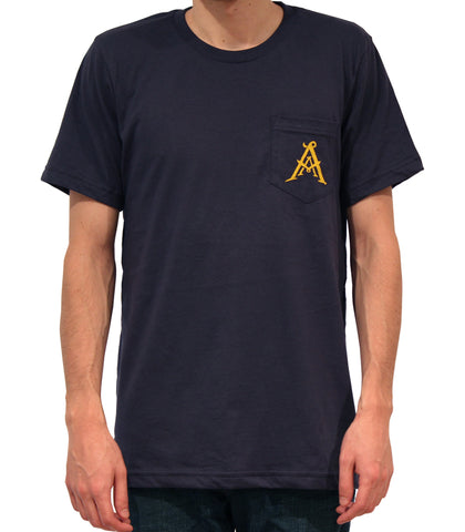 AA Monogram Pocket Tee - Navy (1 left) - Abstruse Apparel - 1