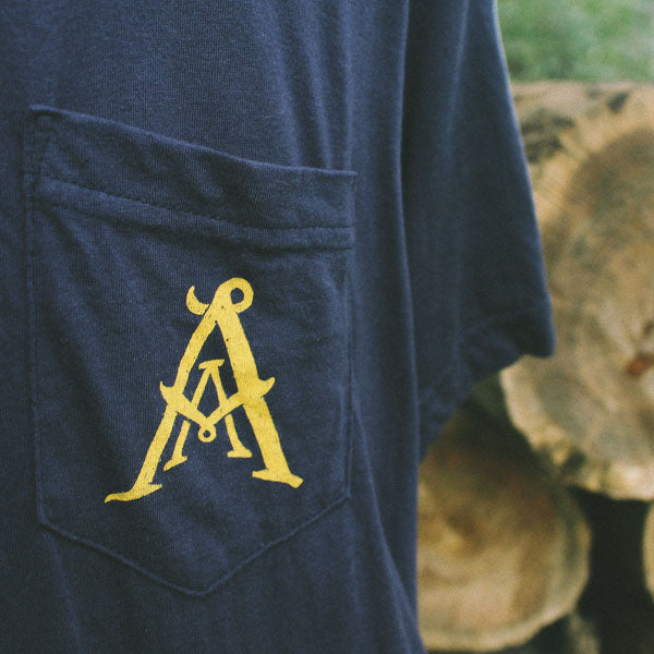 AA Monogram Pocket Tee - Navy - Abstruse Apparel