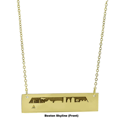 Boston Skyline (Front) in Gold Plated Silver