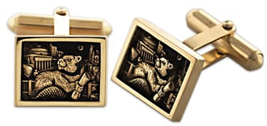2021 MIT Bezel Cufflinks in 10KY Gold