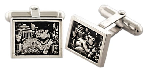2021 MIT Bezel Cufflinks in Sterling Silver