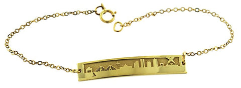 2021 MIT Boston Skyline Bracelet in Sterling Silver With Gold Overlay