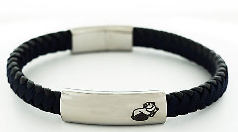 2021 MIT MASCOT BLU BLK Leather Bracelet