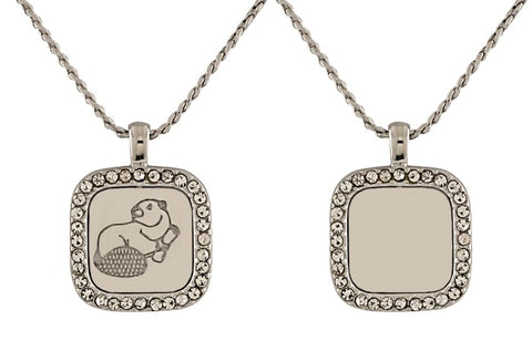 2021 MIT Reversible Pendant in Neck Rhodium Plate