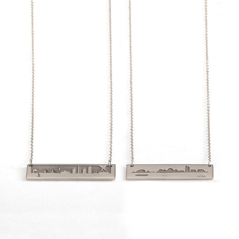 2022 MIT REVERSIBLE SKYLINE NECKLACE IN STERLING SILVER