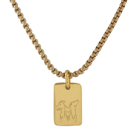 2021 MIT Kerberos Tag Pendant and Chain in Neck Gold Electroplate