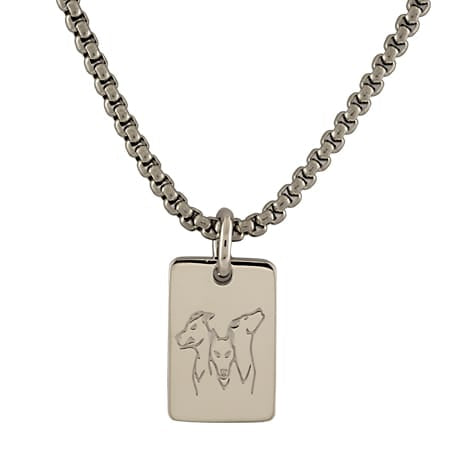 2021 MIT Kerberos Tag Pendant and Chain in Neck Rhodium Plate