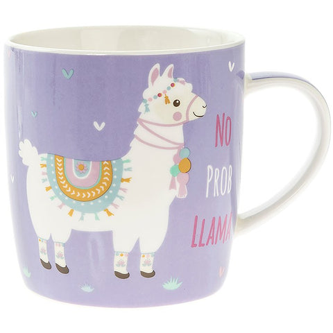 Purple Fine China Mug with cute illustrated Llama and fun slogan No Prob Llama