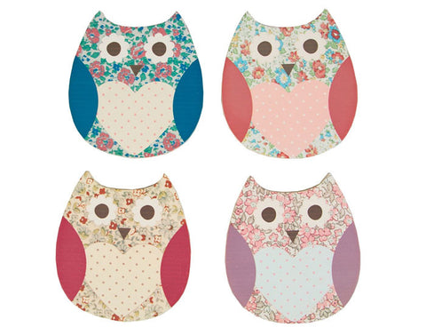 Set of 4 Floral Spring Owl Coasters