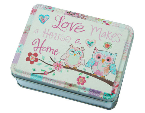 Cute Love Makes A Home Owl Tin