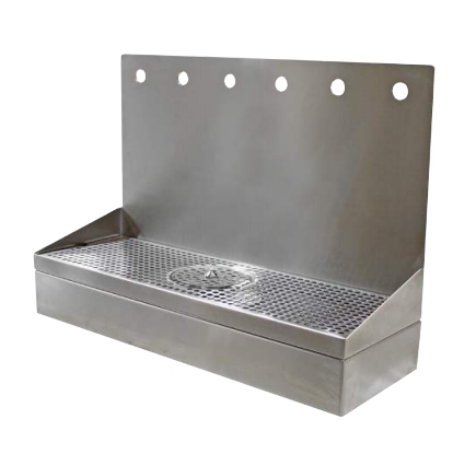 STAINLESS STEEL WALL MOUNT DRIP TRAY WITH GLASS RINSER