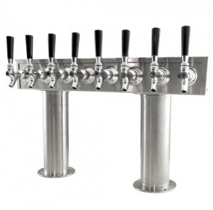 "DRAUGHT BEER TOWERS: 4"" DOUBLE PEDESTAL ""T"" STYLE"