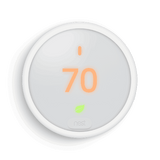 The simple frosted display and sleek design of the Nest Thermostat E blends into the background of any home and will save you energy from day one.