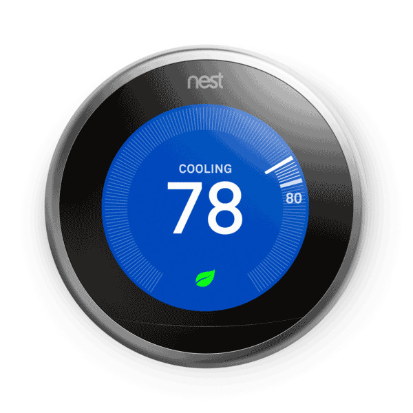 3rd gen Nest Learning Thermostat - Stainless Steel ring color - cooling