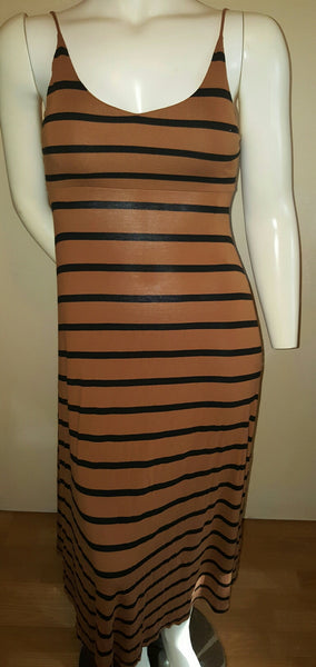 Forever 21 Dark Tan/Black Stripe Maxi Dress - Size Medium