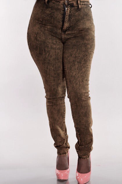 Gold Flava - SIZE 16 - Brown Acid Wash Jeans