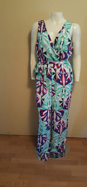 Graphic Print Jumpsuit No Size Tag - Fits like Size 12/14- Wide Legs Slim Waist