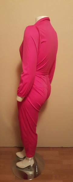 Bright Pink Vintage Jumpsuit - Fits like a Size Large (10/12)