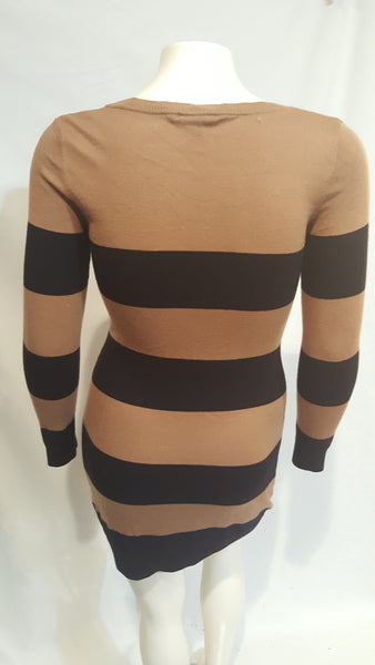H & M Brown and Black Sweater Dress Size Medium