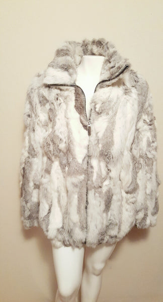 100% Authentic Real Fur White/Gray Fox Fur Size XL fits like 16/18