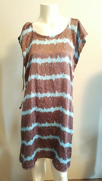 New with Tags Brown & Blue Print Tunic/Dress - Belt Missing Size Medium
