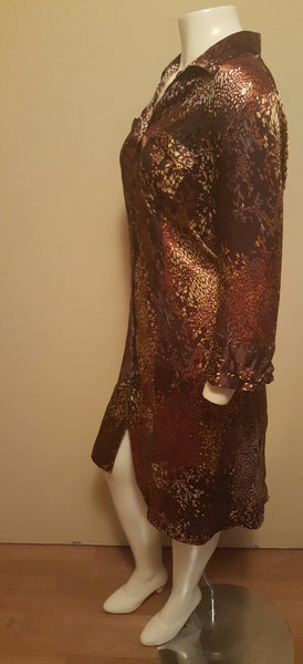 Brown Satin Print Shirt Dress Size 20W