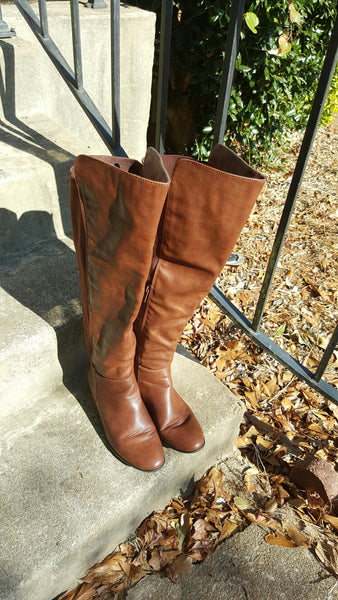 Refresh Elastic Brown Boots Size 9
