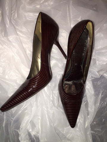 BCBG Brown Pointy Leather Pumps Size 5.5 /6