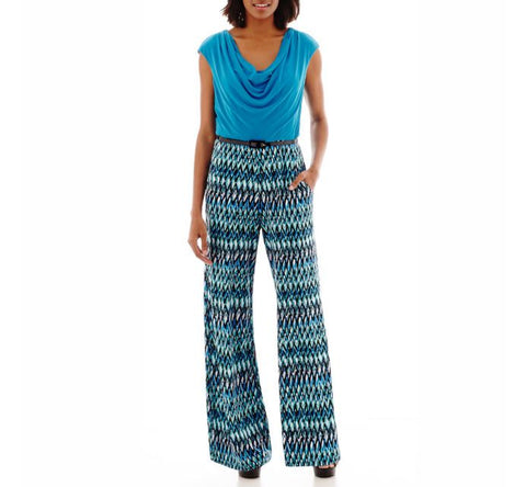 R.N. Studios Turquoise Print Jumpsuit with Pockets Size 16