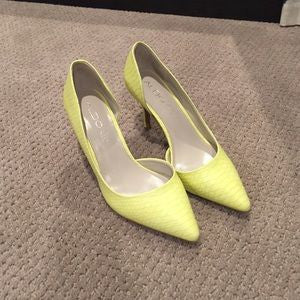 Aldo Yellow Leather Snake Embossed Pumps Size 8