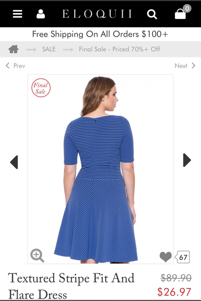 Eloquii Striped Blue Skater Dress Size 16 NEW WITH TAGS