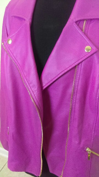 Hot Pink Faux Leather Motorcycle Jacket - Christian Siriano for Lane Bryant  - Size 24