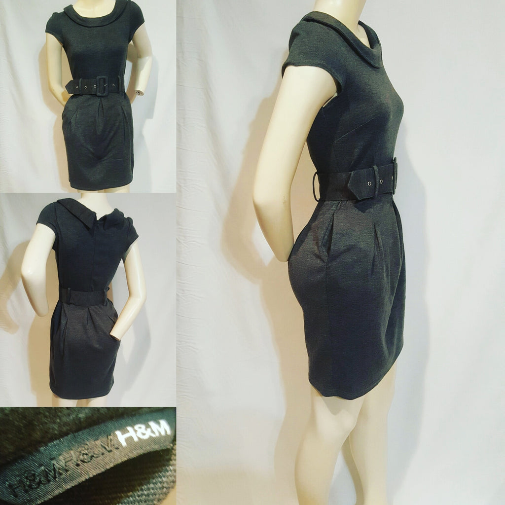 H & M Charcoal Pleated Dress XS - No Size Tag - Fits like a Size 0/2
