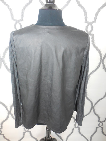 Dark Gray Open Cardigan w/Faux Leather Light Cardigan SIZE MEDIUM