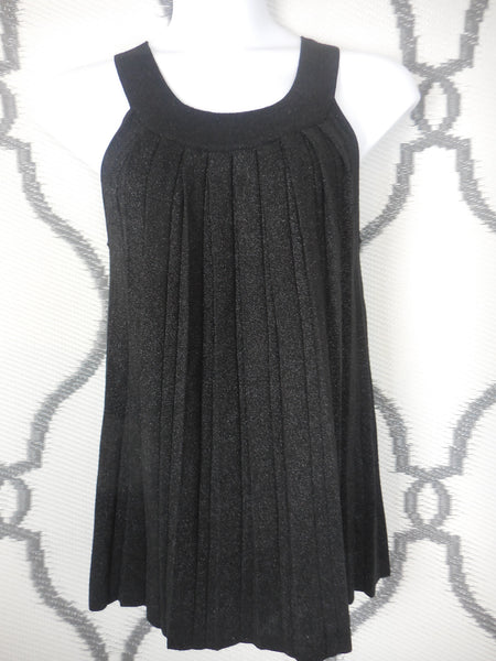 Black Pleated Summer Sweater w/Sparkles - SIZE LARGE