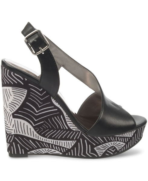 Carlos Santana Calla Black and White Wedge Size 9