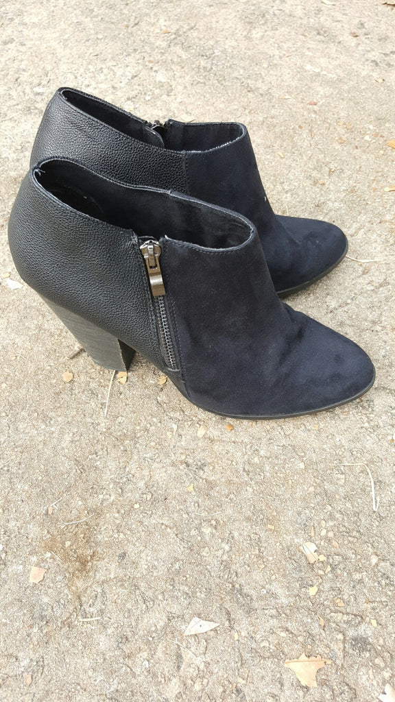 Black Leather/Suede Charles by Charles David Ankle Boots Size 10