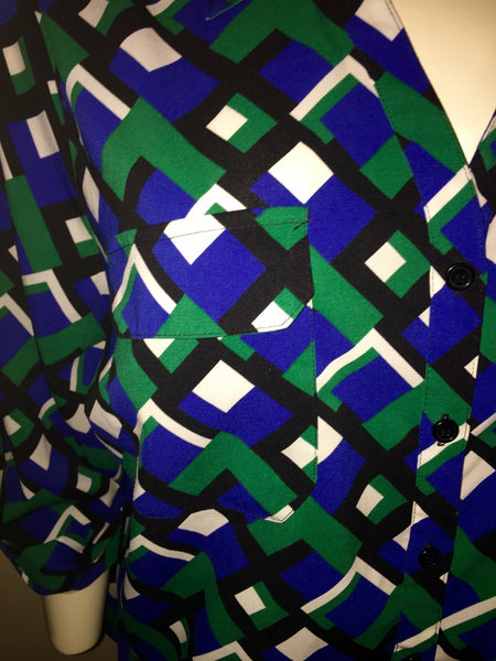Catherine's Green Graphic Print Button Up Shirt Size 18/20W