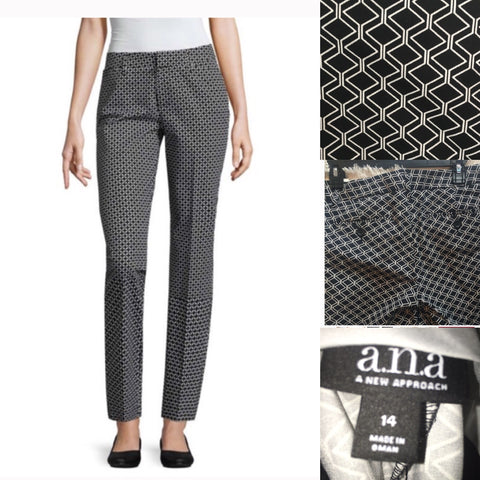 A.N.A. Size 14 Black and White Print Ankle Pants
