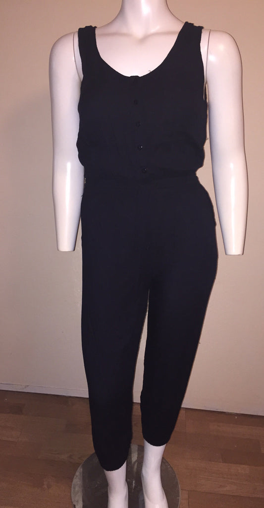 Black Button Up Jumpsuit with Side and Back Pockets