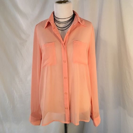 Forever 21 Pink Sheer Blouse Size Medium