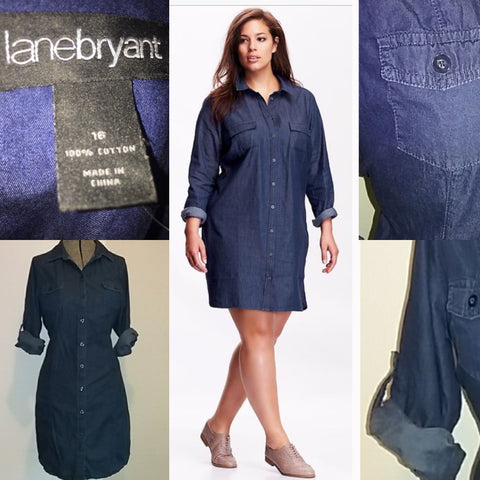 Lane Bryant Cotton Denim Dress Size 16